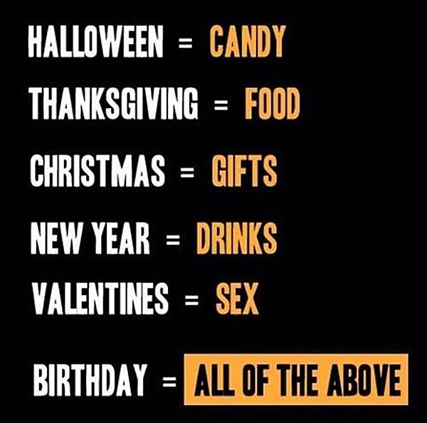 Haloween-candy Thanksgiving -food Christmas-gifts New Year-drinks Valentines-sex Birthday-All the above.