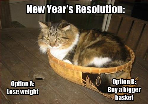 New Year's Resolution Option A: lose weight , Option B: Buy a bigger basket.