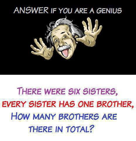 There were six sisters, every sister has one brother. How many brothers are there in total?