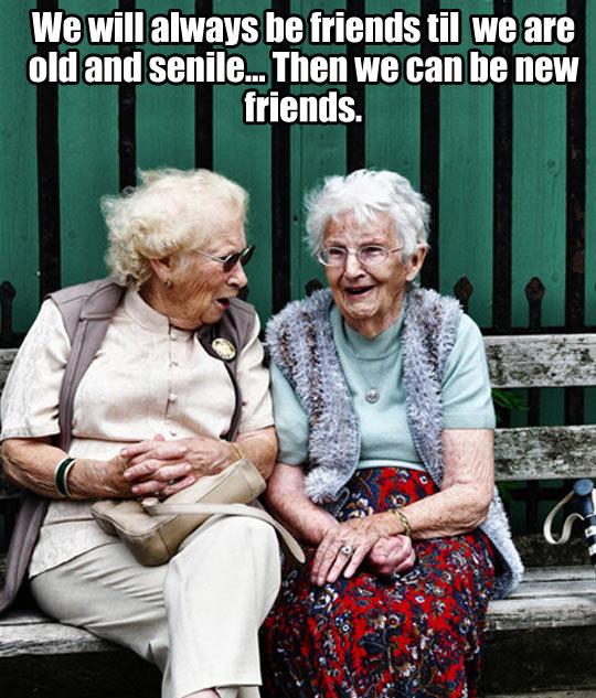 We will always be friends til we are old and senile... Then we can be new friends.