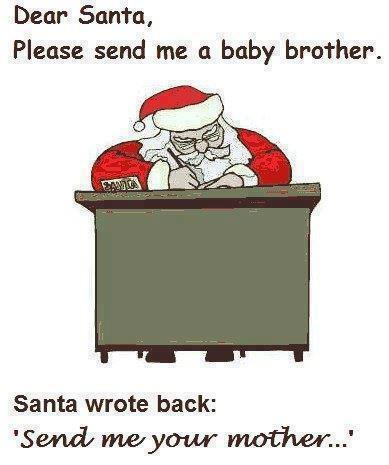Dear Santa, please send me a baby brother. Santa wrote back: