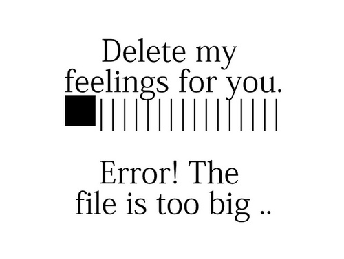 Delete my feelings for you.  Error. The file is too big.