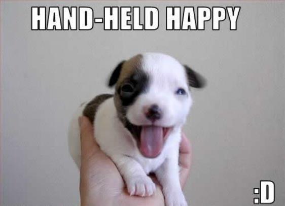 Hand-held happy.