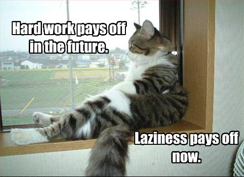 Hard work pays off in the future. Laziness pays off now.