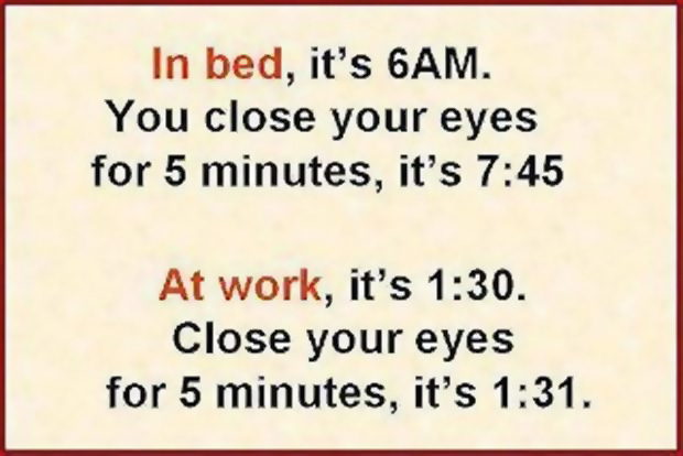 In bed it's 6 am. You close your eyes for 5 minutes, it's 7:45. At work, it's 1:30. Close your eyes for 5 minutes, it's 1:31.