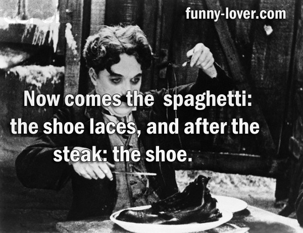 Now comes the spaghetti: the shoe laces and after the steak: the shoe
