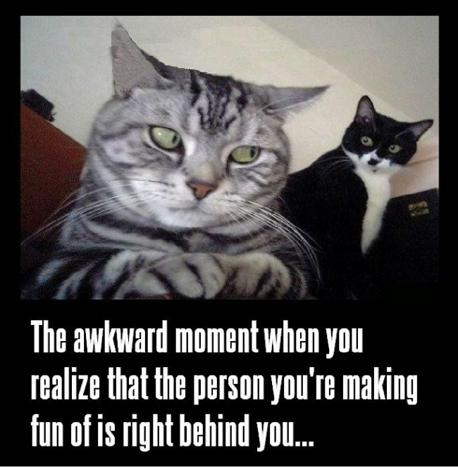 The awkward moment when you realize that the person you're making fun of is right behind you.