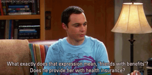 "What exactly does expression mean ""friends with benefits""? Does he provide her with health insurance?"
