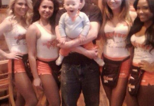 My son's first time at Hooters